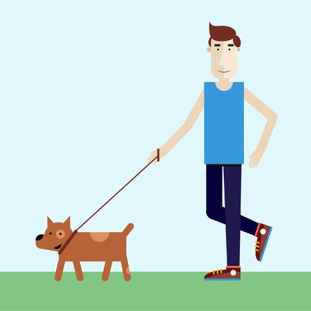 Young man walking dog. Modern flat illustration.