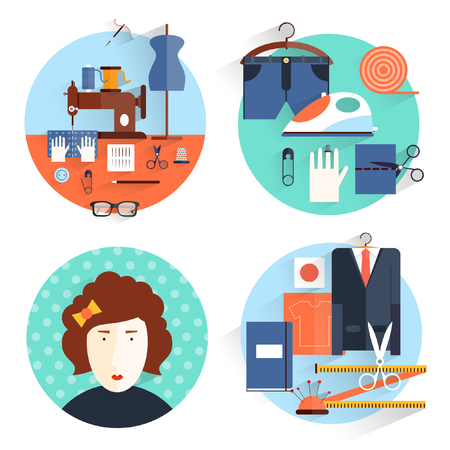 fashion clothing: Seamstress workplace. Sewing items and tools. Tailor fashion designer needlework tailoring custom tailoring. Hand made. Creative workspace. Set of flat illustrations in round colorful frames.