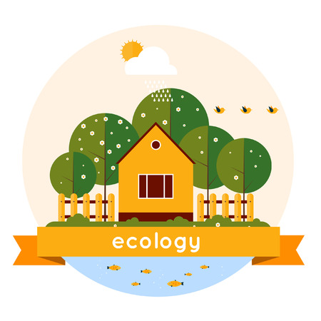 Village landscape with garden and lake. Human and environment. Spring. Ecology clean air. Flat design vector illustration. Isolated label. Vector