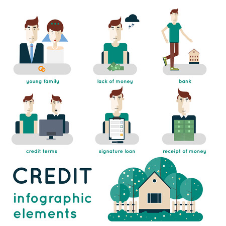 getting together: Elements of infographic showing process of getting loan. Saving money deposits finance control visiting the bank consultation singing a contract. Buying a house. Modern flat illustration.