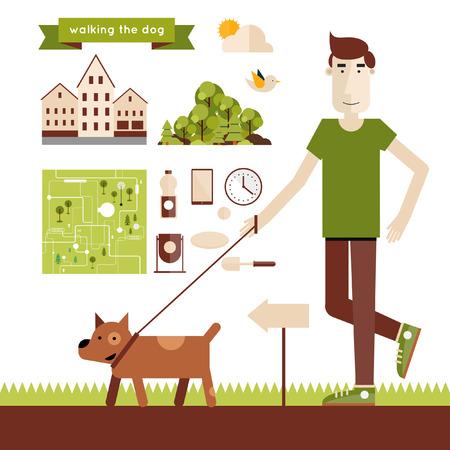 caminando: Perro joven hombre caminando. Elementos del infographics. Ilustración plana moderna. Cartel. Vectores