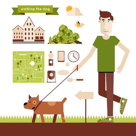 Young man walking dog. Elements of infographics. Modern flat illustration. Poster.
