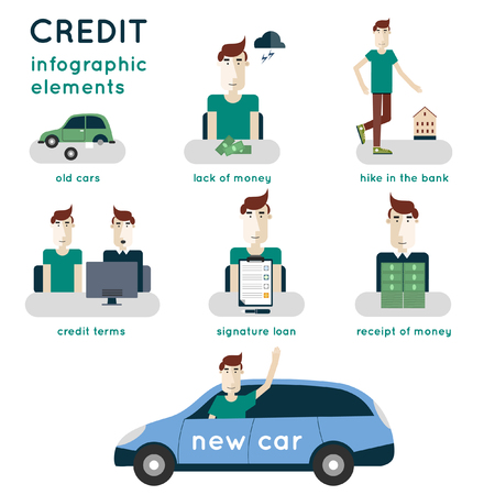 personal banking: Buying a car on credit. Applying for a loan. The process of obtaining a loan. Credit steps. Infographic elements. Illustration