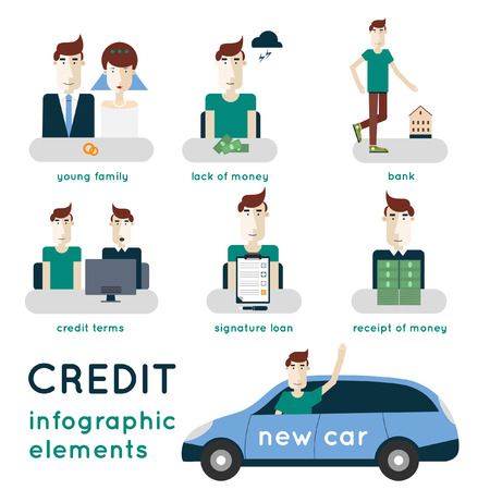 loan: Buying a car on credit. Applying for a loan. The process of obtaining a loan. Credit steps. Infographic elements. Illustration