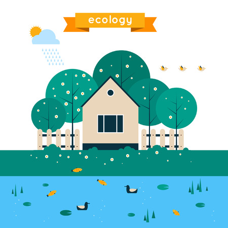 clean air: Village landscape with garden and lake. Human and environment. Spring. Ecology clean air. Flat design vector illustration.