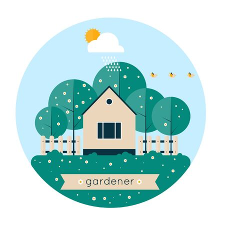 clean air: Home gardener and garden with birds. Landscape with trees and house sun. Ecology clean air. Spring. Flat design vector illustration. Isolated label.