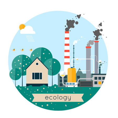 polluted cities: Vector flat illustration of pollution and ecofriendly landscapes. Ecology environmental protection village production factory pollution smoke urban. Composition in lap. Poster banner. Illustration