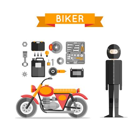 motorcyclist: Biker on motorcycle repair tools. Motorcycle Biker flat design. Motorcyclist in full growth. Repair tool kit. Flat design vector illustration.