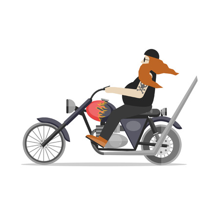 biker: A man in a helmet with a beard riding a customized motorcycle. Old biker on a chopper motorcycle. Biker riding motorcycle. Flat design vector illustration. Illustration