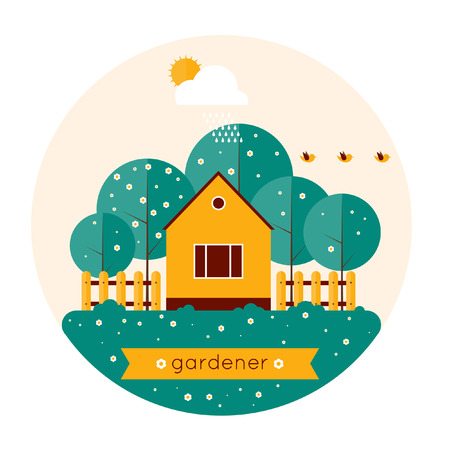 Home gardener and garden with birds. Landscape with trees and house sun. Ecology clean air. Spring. Flat design vector illustration. Isolated label. Vector