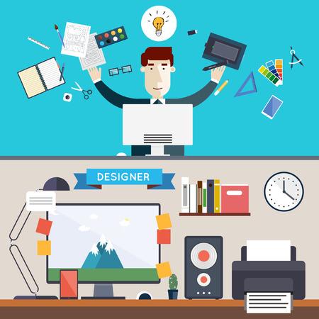 graficas: Carácter Diseñador y espacio de trabajo con herramientas y dispositivos en estilo plano moderno. Logotipo proceso creativo y el diseño gráfico agencia de diseño. Día de trabajo. Escritorio. Conjunto de iconos planos. Banderas.