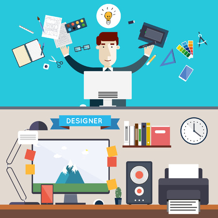 graphic: Designer character and workspace with tools and devices in modern flat style. Creative process logo and graphic design design agency. Workday. Desktop. Set of flat icons. Banners. Illustration
