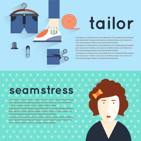 costurera: Lugar de trabajo de la costurera. Art�culos de costura y herramientas. Adaptar la costura dise�ador de moda adaptar la sastrer�a a medida. Hecho a mano. Espacio de trabajo creativo. Conjunto de ilustraciones planas. Bandera horizontal.
