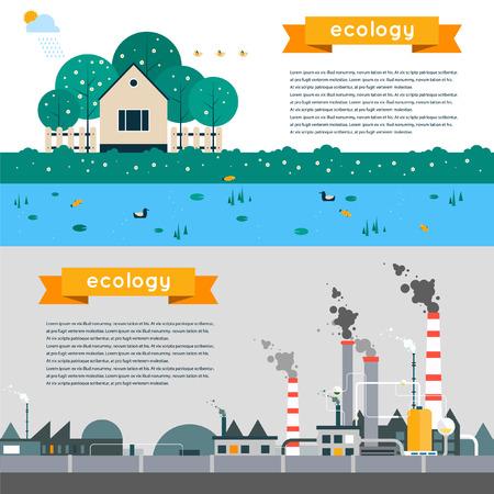 오염과 친환경 풍경의 벡터 평면 그림입니다. 생태 환경 보호, 녹색 에너지 생산 공장 오염 연기 도시. 포스터 배너입니다. 가로 배너