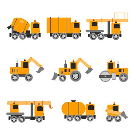 heavy construction: Construction machines. Heavy machines. Vector illustration. Flat design. Concrete Mixer excavators cranes tank truck tractor bucket asphalt.