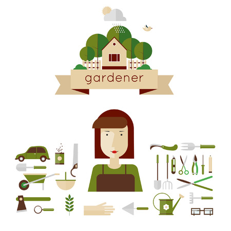 woman gardening: Woman gardener and garden tools. Environmental activities. Gardening icons set. The gardener39s house. Home and garden. Modern flat style. Vector illustrations. Illustration
