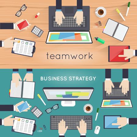 gestion empresarial: El trabajo en equipo. Estrategia empresarial carrera reunión de consultoría de gestión de análisis de planificación. Proceso de desarrollo. Vista superior. Ilustración Diseño plano.
