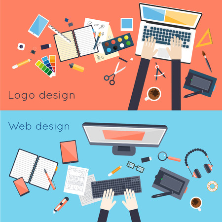 web 2: Designer workspace with tools and devices in modern flat style. Creative process logo and graphic design design agency web design. Working on notebook. Top view. Set of flat icons. 2 Banners.