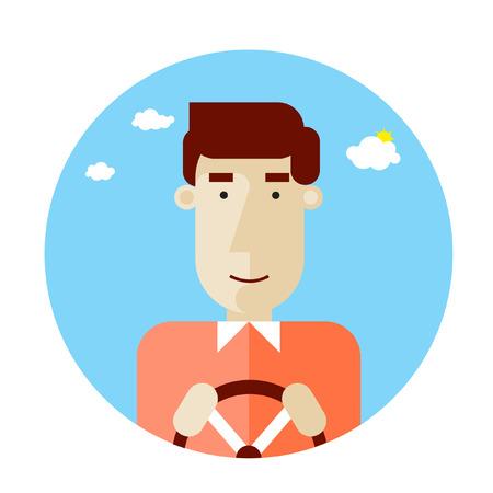 chofer: Carácter piloto feliz celebración de su rueda motriz. Profesión. Ilustración del vector. Diseño plano.