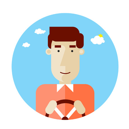 Happy driver character holding his driving wheel. Profession. Vector Illustration. Flat design. Ilustração