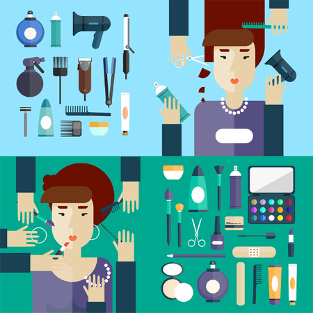 hair beauty: Woman at beauty salon. Haircut. Beauty. Hairdressing. Hair coloring. Makeup. Flat design. 2 Banners. Illustration