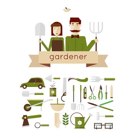 car garden: Man and woman gardeners and garden tools. Environmental activities. Gardening icons set. The gardener39s house. Home and garden. Modern flat style. Vector illustrations.