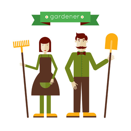 Man and woman gardeners standing full length. Environmental activities. Gardening icons set. Home and garden. Modern flat style. Vector illustrations.