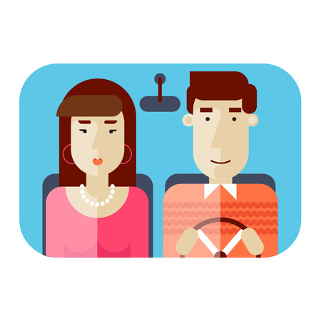 chauffeur: Man and woman traveling in the car. Man driving car. Tourism travel vacation lovers family husband and wife. Taxi. Vector illustration. Flat design. Illustration