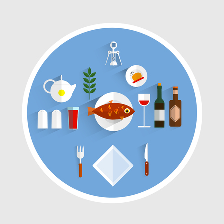 cafe food: At table in restaurant. Set of icons restaurant cafe. Food on the table. Flat design vector illustration. Label.