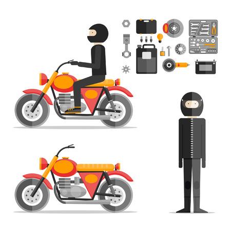 spare time: Biker on motorcycle repair tools. Motorcycle Biker flat design. Motorcyclist in full growth. Repair tool kit. Flat design vector illustration