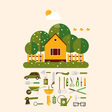 couple in rain: Home gardener and set icons garden accessories. Landscape with trees and house sun. Ecology clean air. Flat design vector illustration