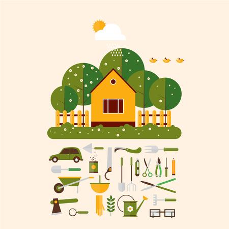 saubere luft: Startseite G�rtner und set icons Garten-Accessoires. Landschaft mit B�umen und Haus Sonne. �kologie saubere Luft. Flache Design Vektor-Illustration