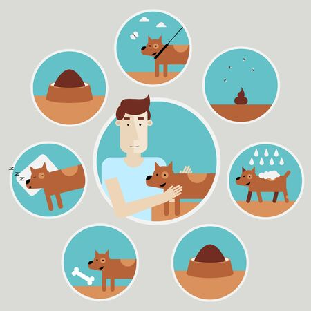 small group of object: Caring for a dog. Infographics design elements. Walking dog taking a bath food cleaning play. Isolated vector illustration. Flat design.