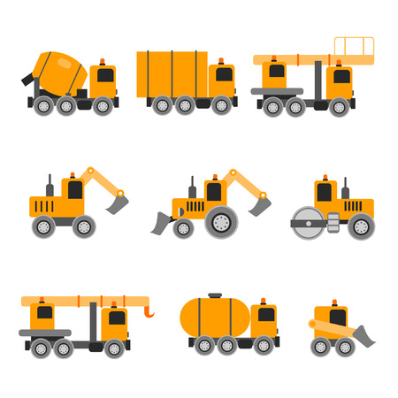 land development: Construction machines. Heavy machines. Vector illustration. Flat design. Concrete Mixer excavators cranes tank truck tractor bucket asphalt.