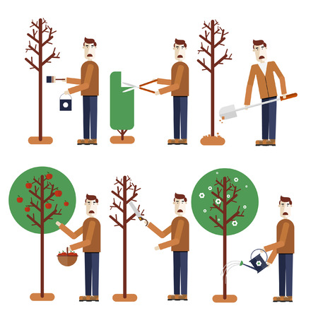 sawing: Happy Gardener standing with his garden tool. Elements of infographics. Gardening. Whitens tree mows bush tree sits down collect apples sawing branches watering. Vector illustration. Flat design.