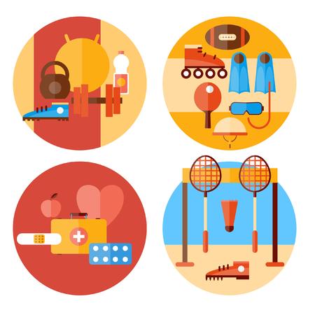 racing skates: Sport healthy lifestyle fitness. Athletics jumping running health. Set icons. Vector flat illustration. Illustration