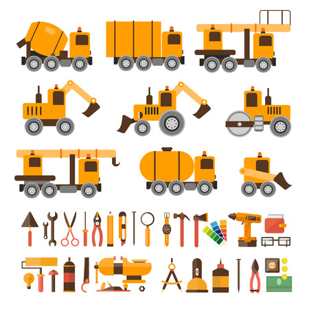 heavy construction: Construction machines and tools for construction. Heavy machines. Concrete Mixer excavators cranes tank truck tractor bucket asphalt. Vector illustration. Flat design.