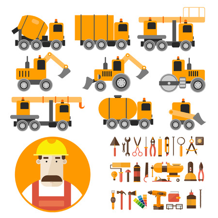heavy construction: Builder character vector illustration. Heavy equipment. Car truck cement mixer crane tractor roller tank loader excavator. Set of Worker tools icons. Portrait. Illustration