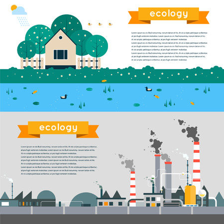 polluted cities: Vector flat illustration of pollution and ecofriendly landscapes. Ecology environmental protection green energy production factory pollution smoke urban. Poster banner. Horizontal banner Illustration