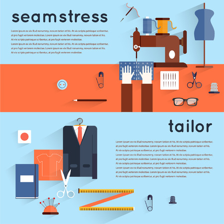 tailoring: Seamstress workplace. Sewing items and tools. Tailor fashion designer needlework tailoring custom tailoring. Hand made. Creative workspace. Set of flat illustrations. Horizontal banner.