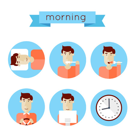 wake up happy: Morning procedures woke up washed ate breakfast get to work work time. Elements of infographics. Isolated vector illustration. Illustration