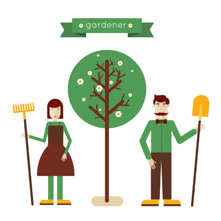 woman gardening: Man and woman standing full length with garden tools near the tree. Gardening activities. Home and garden. Modern flat style. Vector illustrations.