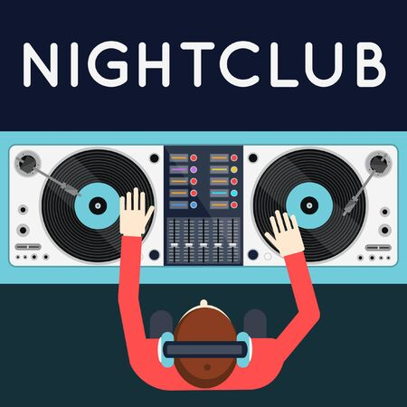 party dj: DJ tocando vinilo. Vista superior de espacio de trabajo de dj con platos y mezclador. Club nocturno. Diseño del cartel del Partido en estilo moderno apartamento.