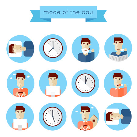 Concept of man daily routine. Set of flat illustrations on a white background. Infographic elements of daily activities in blue circles. Ilustração