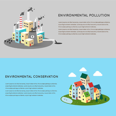 polluted cities: Vector flat illustration of pollution and ecofriendly landscapes. Ecology environmental protection green energy village. Production factory pollution smoke urban. Poster banner.