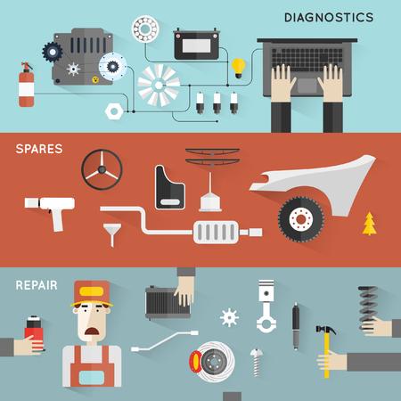 mecanico: Servicio de auto. Reparación Mecánico auto de máquinas y equipos. Manos que sostienen las herramientas. Diagnóstico de automóviles. Ilustración vectorial y los iconos planos. 3 banderas.