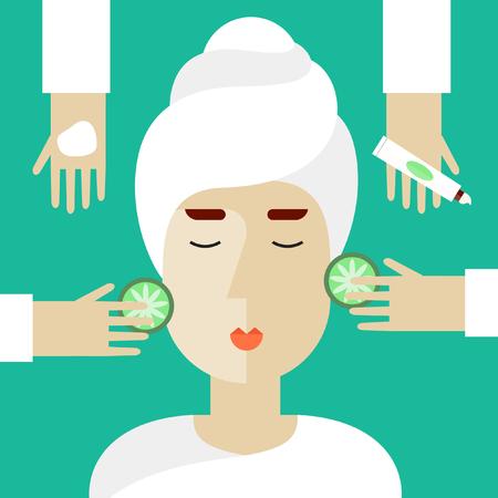 Woman on spa procedures. Hands applying cream. Vector illustration in flat design.