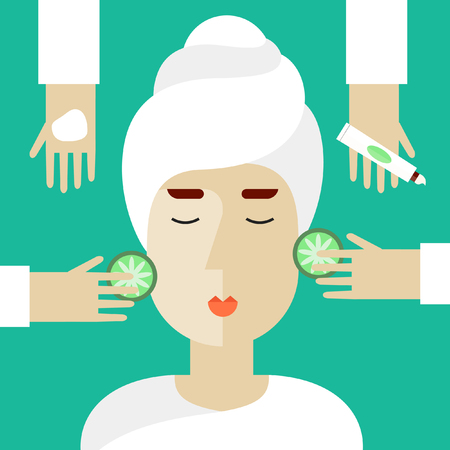 health and wellness: Woman on spa procedures. Hands applying cream. Vector illustration in flat design.