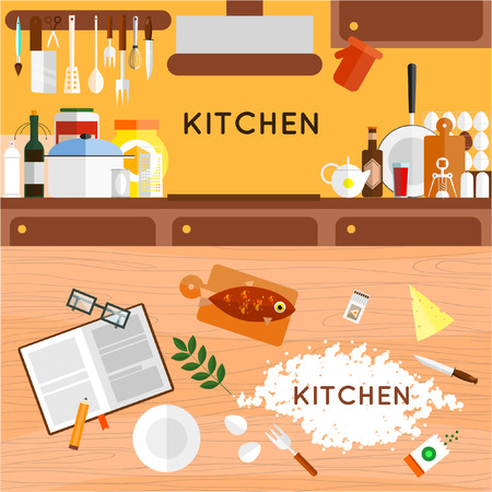 food preparation: Kitchen utensils and cookware. Kitchen interior. Flat icons. Cooking tools and kitchenware equipment serve meals and food preparation elements. Illustration