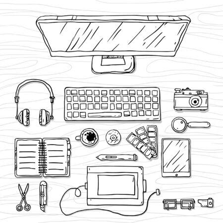 espacio de trabajo: Boceto del espacio de trabajo de oficina. Dibujado A Mano.